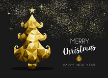 Merry christmas happy new year golden pine tree low poly Royalty Free Stock Images