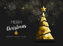 Merry christmas happy new year golden triangle tree. Merry christmas and happy new year fancy gold xmas tree in hipster low poly triangle style. Ideal for