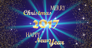 Merry Christmas and Happy New Year 2017 Golden Typography and Bright Stars on a Dark Blue Background Vector illustration. Merry Christmas and Happy New Year 2017 Royalty Free Stock Photos