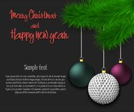 Golf ball hanging on a Christmas tree branch