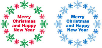 Merry Christmas and Happy New Year. Graphics illustrated with colorful snowflakes on white Stock Photos