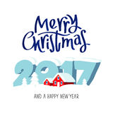 Merry Christmas and happy new year. Great holiday gift card. Large numbers 2017 and red snow-covered houses. Vector illustration on white background. The trend Stock Photography