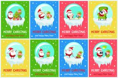 Merry Chritsmas Great Pleasure Vector Illustration. Merry Christmas and happy New Year, great pleasure of elf and Santa, Claus and helper playing music, doing Royalty Free Stock Image