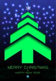 Merry Christmas and Happy New Year green arrow tree on blue curcuit light energy technology design for holiday festival. Celebration countdown party vector Royalty Free Stock Photography