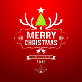Merry Christmas and happy new year green tree design Stock Photos