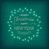 Merry Christmas and Happy New Year Greeting Background. Beautiful logo lettering with garlands on a green background. Xmas card royalty free illustration