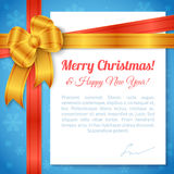 Merry Christmas and Happy New Year Greeting Background. With ribbon, bow and white paper sheet with place for text. Vector festive design Royalty Free Stock Image