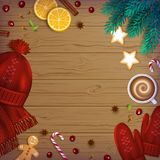 Merry Christmas and Happy New Year Greeting Background. Winter Element berries, bakery on a wooden table. Merry Christmas and Happy New Year Greeting Background Royalty Free Stock Photo