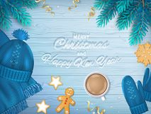 Merry Christmas and Happy New Year Greeting Background.  Royalty Free Stock Photo