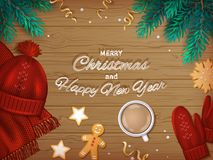 Merry Christmas and Happy New Year Greeting Background. Winter Elements on a wooden table. Top View. Vector Royalty Free Stock Image