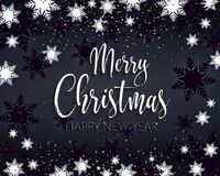 Merry Christmas and happy new year greeting banner. Festive black postcard. White snow-flakes and golden text. Lettering. Realistic vector. EPS10. Calligraphic stock illustration