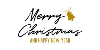 Merry Christmas and Happy New Year greeting banner. Vector illustration stock illustration