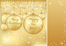 Merry Christmas and Happy New Year greeting card Royalty Free Stock Image