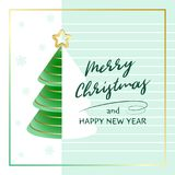 Merry Christmas and Happy New Year. Greeting card with abstract Christmas tree, golden star and snowflakes. Vector illustration stock illustration