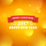 Merry Christmas and Happy New Year 2017. Greeting card for Merry Christmas and Happy New Year 2017. Abstract colorful blurred vector background with bokeh lights Stock Photos