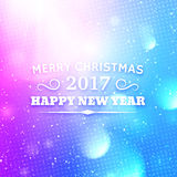 Merry Christmas and Happy New Year 2017. Greeting card for Merry Christmas and Happy New Year 2017. Abstract colorful blurred vector background with bokeh lights Royalty Free Stock Images