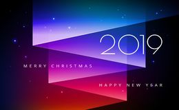 Merry Christmas and Happy New Year 2019 greeting card with aurora northern lights royalty free illustration