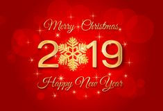 2019 Merry Christmas and Happy New Year greeting card. Backgroun. D with golden numbers 2019 and snowflake. Vector Illustration vector illustration