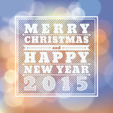 Merry Christmas and Happy New Year 2015 greeting card. Background stock illustration