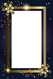 Merry Christmas gold frame luxury blank border. Merry Christmas and Happy New Year greeting card background, frame with gold snowflakes, lights effect and Royalty Free Stock Photo