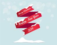 Merry Christmas and Happy New Year Greeting Card Background Illustration Vector Stock Photography