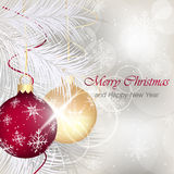 Merry Christmas and Happy New Year greeting card with baubles, ribbons, stars, shiny effect, snowflakes and needles. Stock Photo