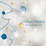 Merry Christmas and Happy New Year greeting card with baubles, ribbons, stars, shiny effect, snowflakes and needles. Royalty Free Stock Photo