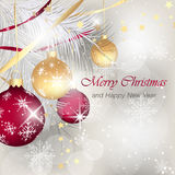Merry Christmas and Happy New Year greeting card. Stock Photos