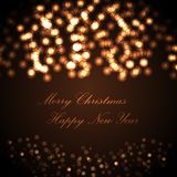 Merry Christmas and Happy New Year greeting card. beautiful holiday background, blurred festive lights. Merry Christmas and Happy New Year greeting card Stock Photo