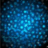 Merry Christmas and Happy New Year greeting card. beautiful holiday background, blurred festive lights. Merry Christmas and Happy New Year greeting card Royalty Free Stock Photos
