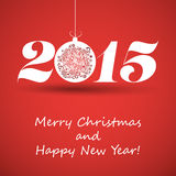Merry Christmas and Happy New Year Greeting Card - 2015 Royalty Free Stock Images