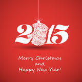 Merry Christmas and Happy New Year Greeting Card - 2015 Royalty Free Stock Photo