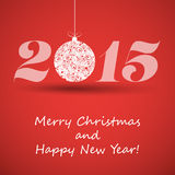 Merry Christmas and Happy New Year Greeting Card - 2015 Stock Photos