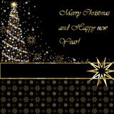 Merry Christmas and Happy New Year greeting card. On black background Royalty Free Stock Photos