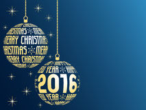 Merry christmas and happy new year 2016. Greeting card, blue background with place for text, hanging gold christmas balls with text Stock Photo