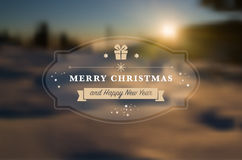 Merry Christmas and Happy New Year greeting card. With blurred nature background- vector illustration stock illustration