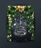 Merry Christmas and Happy New Year greeting card with with Christmas branches, with gold bow, with decorations on dark. Background Vector illustration Royalty Free Stock Photos