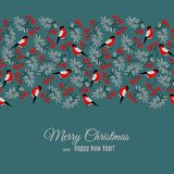 Merry Christmas and Happy New Year greeting card with bullfinch and rowan pattern on blue dark background Royalty Free Stock Image