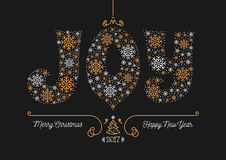 Merry Christmas Happy New Year 2017 greeting card Business postcard. Merry Christmas and Happy New Year 2017 greeting card, Joy lettering of snowflakes. Style Stock Photo