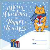 Merry Christmas and Happy New Year greeting card with cat Stock Images