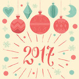 2017 Merry Christmas and Happy new year! Greeting card with Christmas decorations. And hand lettering type. Vector illustration, poster, invitation, postcard or royalty free illustration