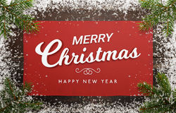 Merry Christmas and happy new year greeting card with christmas tree, tablecloth Royalty Free Stock Image