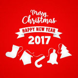 Merry Christmas and a Happy New Year Greeting Card with Christmas Tree. Vector background Vector Illustration