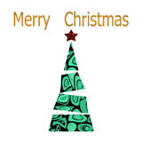 Merry Christmas and happy new year greeting card with christmas. Tree on white background Royalty Free Stock Photo