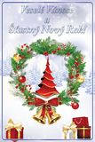 Merry Christmas and Happy New Year - light blue greeting card with Czech text stock illustration