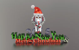 Merry Christmas and Happy New Year greeting card. New Year clip art with precious sheep Vector Illustration