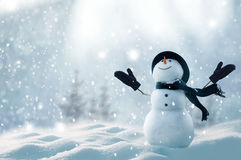 Merry christmas and happy new year greeting card with copy-space.Happy snowman standing in winter christmas