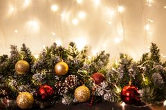 Merry christmas and happy new year greeting card with copy-space. Winter background royalty free stock photography