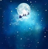 Anta and his sleigh flying over snowy landscape royalty free stock images