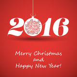 Merry Christmas and Happy New Year Greeting Card, Creative Design Template - 2016 Stock Image